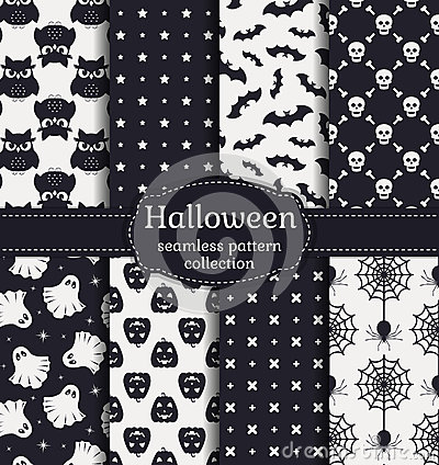 Free Halloween Seamless Patterns. Vector Set. Royalty Free Stock Photography - 60774587