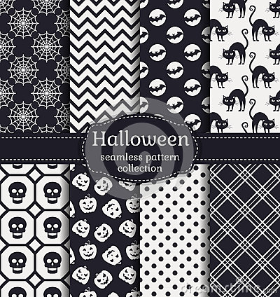 Free Halloween Seamless Patterns. Vector Set. Royalty Free Stock Photos - 60774628
