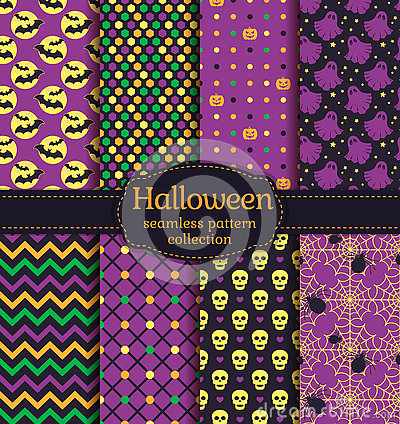 Free Halloween Seamless Patterns. Vector Set. Stock Photography - 76919852