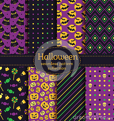 Free Halloween Seamless Patterns. Vector Set. Royalty Free Stock Image - 76920626