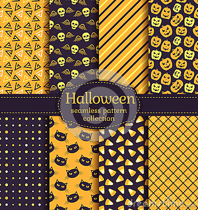 Free Halloween Seamless Patterns. Vector Set. Stock Photos - 77192833