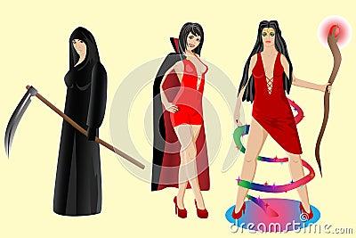 Halloween set. Vampire, sorceress, grim reaper