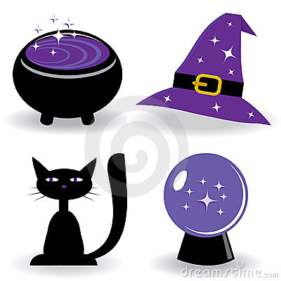 Halloween set with witch s stuff