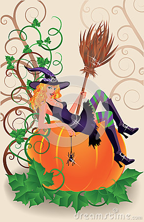 Halloween sexual witch and pumpkin