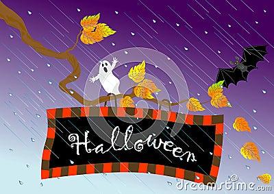 Halloween signboard. vector.