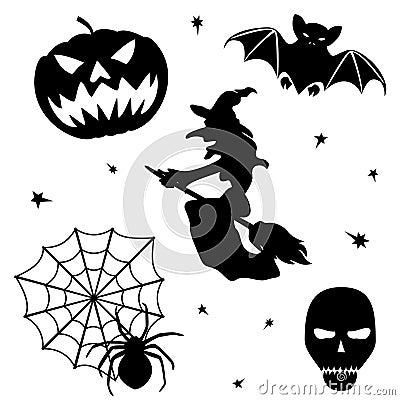 Halloween silhouette set on white background