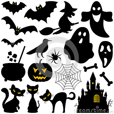 Halloween Silhouettes Elements Vector Illustration