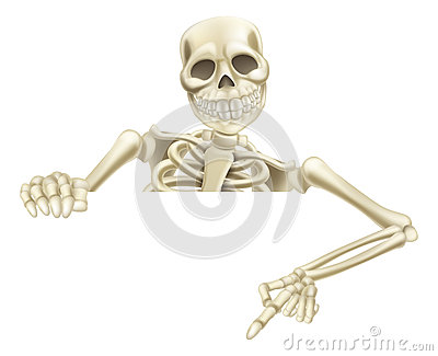 Halloween Skeleton Pointing Down Vector Illustration