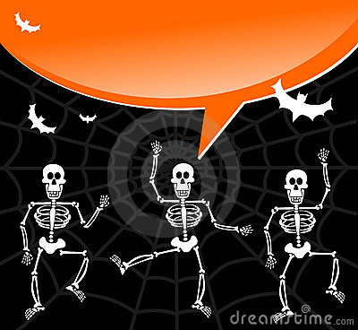 Halloween skeletons with spiderweb and bubble