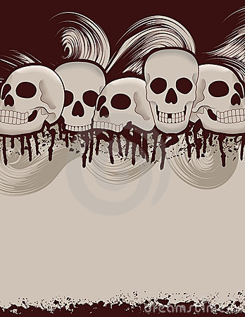 Halloween skull and dripping blood background