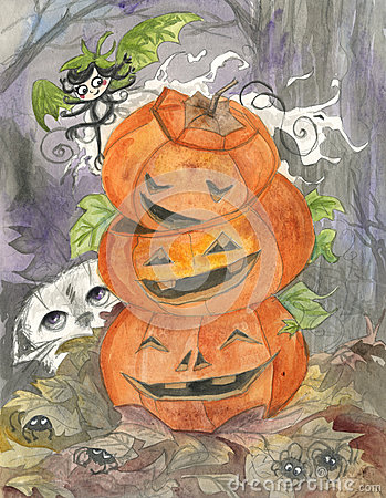 Halloween spöke och sila-o-lyktor