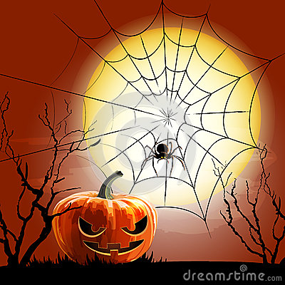 Halloween spider and spiderweb