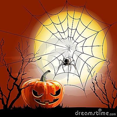 Halloween spider and spiderweb