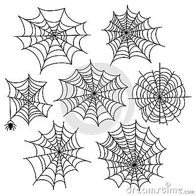 Free Halloween Spider Web Vector Set. Cobweb Decoration Elements Royalty Free Stock Images - 99743369