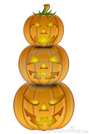 Halloween Stack Of Three Carved Pumpkins Royalty Free