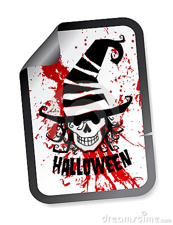 Halloween sticker with skull in hat
