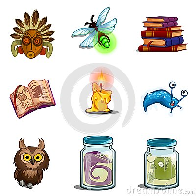Free Halloween Symbols - Owl, Mask, Insect, Book Of Spells, Formalin Mutant, Candle. Vector Icons Set Isolated On White Stock Images - 100389964