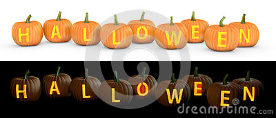 Halloween text carved on pumpkin jack lantern