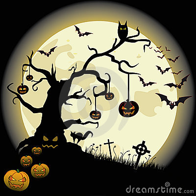 Halloween Tree Full Moon Bat Cross Pumpkin
