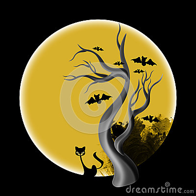 Halloween tree stock illustration image 45386110 - Scary yellow eyes ...