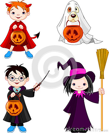 Halloween trick or treating children