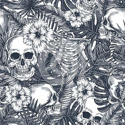 Free Halloween Tropical Vintage Seamless Pattern. Creppy Jungle Skull Background. Floral Anatomy Royalty Free Stock Images - 125172199