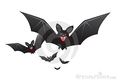 Halloween vampire bats with fangs