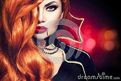 Halloween vampire woman portrait Stock Photo