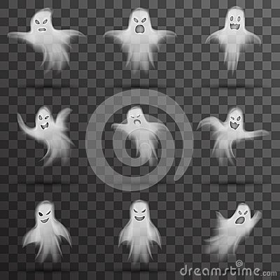 Free Halloween White Scary Ghost Isolated Template Transparent Night Background Vector Illustration Royalty Free Stock Images - 100190689