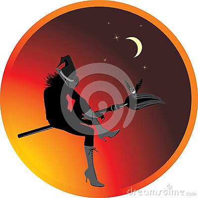 Halloween witch and bat. Sticker