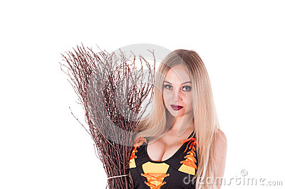 Halloween witch  with  broom.