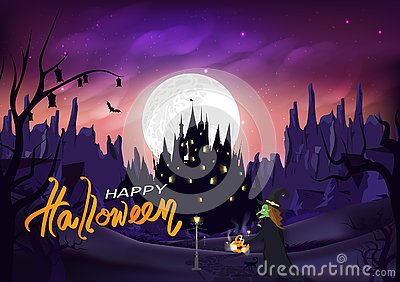Halloween, witch and cat walk on the road to castle, magic and pumpkin, Jack-O-Lantern, fantasy miracle silhouette night scene, Vector Illustration