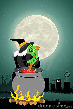 Halloween witch cooking