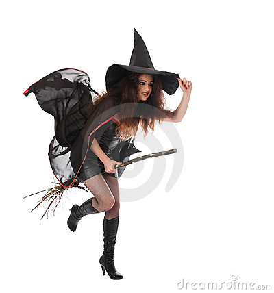 Halloween witch flying on broom