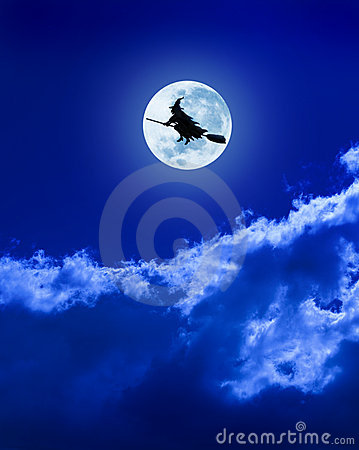 Free Halloween Witch Flying Moon Broomstick Stock Image - 10077251