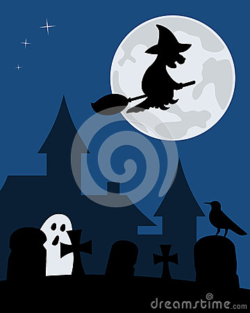 Halloween Witch and Graveyard