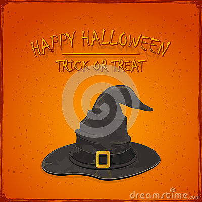 Halloween witch hat on orange background Vector Illustration