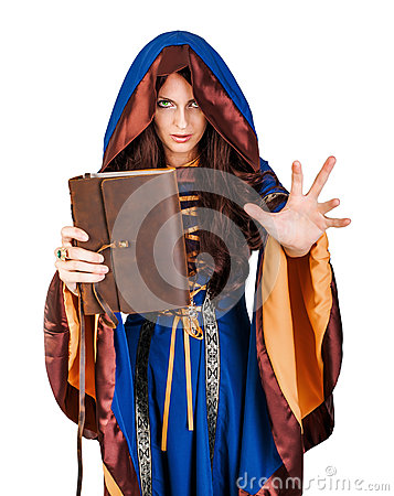 Free Halloween Witch Holding Magical Book Of Spells Making Magic Stock Photo - 61134790