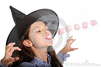 Halloween witch with marshmallows