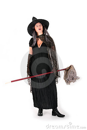 Halloween witch with mop