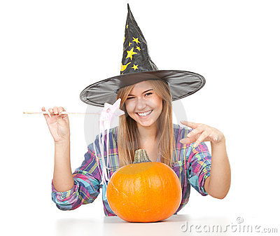Halloween Witch with orange pumpkin