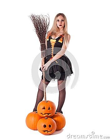 Halloween witch  with pumpkin, broom.