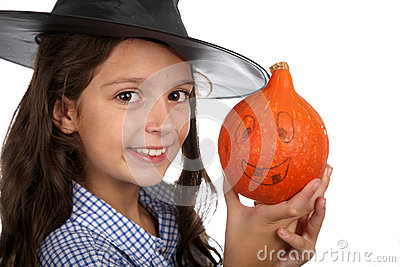 Halloween witch and pumpkin