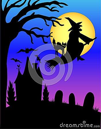 Free Halloween Witch Silhouette/eps Stock Photos - 2751713