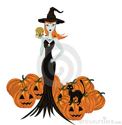 Halloween witch standing with skull and pumpkins