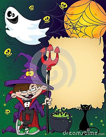 Halloween wizard boy