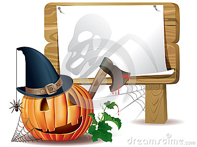 Halloween wooden board