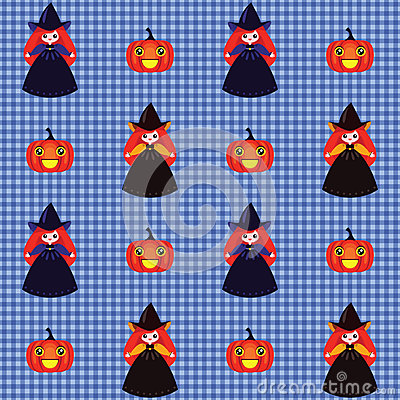 Halloween wzór z czarownicami i baniami