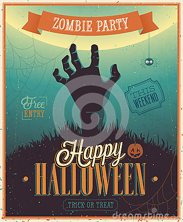 Free Halloween Zombie Party Poster. Stock Image - 33691791