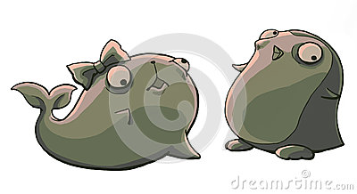 halloween zombie seal and penguin illustration